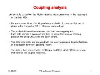 Coupling analysis