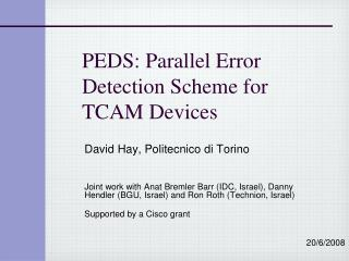 PEDS: Parallel Error Detection Scheme for TCAM Devices