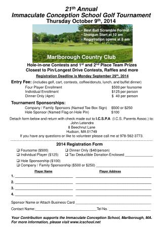 21 th  Annual Immaculate Conception School Golf Tournament Thursday October 9 th , 2014