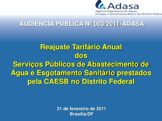 AUDIÊNCIA PÚBLICA Nº 003/2011-ADASA