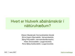Hvert er hlutverk aðalnámskrár í náttúrufræðum?