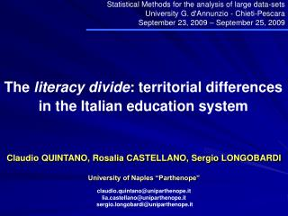 The literacy divide: territorial differences in the Italian education system