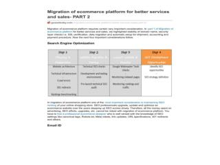 Migration of ecommerce platform for better services and sale