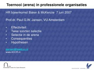 Toernooi (arena) in professionele organisaties