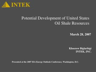 Potential Development of United States Oil Shale Resources