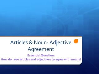 Articles & Noun- Adjective Agreement