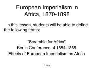 European Imperialism in Africa, 1870-1898