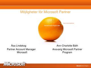 M�jligheter f�r Microsoft Partner