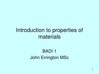 Introduction to properties of materials