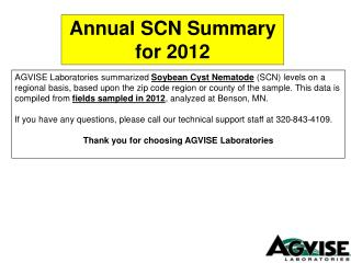 Annual SCN Summary for 2012