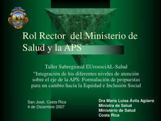 Rol Rector  del Ministerio de Salud y la APS