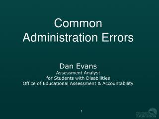 Common Administration Errors