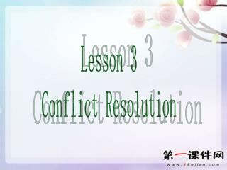 Lesson 3 Conflict Resolution