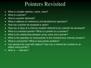Pointers Revisited