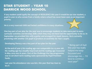 Star Student – Year 10 Darrick Wood School