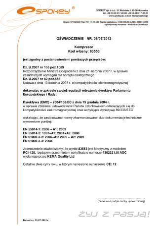 OŚWIADCZENIE   NR. 06/07/2012 Kompresor Kod własny: 83553