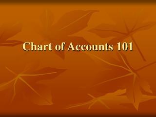 Chart of Accounts 101