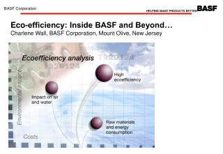 Eco-efficiency: Inside BASF and Beyond  Charlene Wall, BASF Corporation, Mount Olive, New Jersey