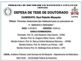 PROGRAMA DE DOUTORADO EM MATEMÁTICA UFPA/UFAM CONVITE
