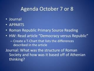 Agenda October 7 or 8