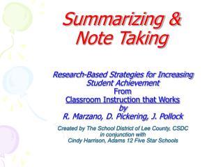 Summarizing &  Note Taking