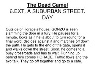 The Dead Camel 6.EXT. A SUBURBAN STREET. DAY
