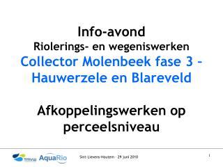 Info-avond  Riolerings- en wegeniswerken Collector Molenbeek fase 3 – Hauwerzele en Blareveld