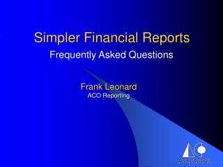 Simpler Financial Reports