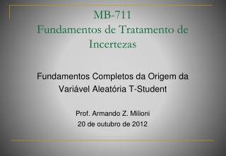 MB-711 Fundamentos de Tratamento de Incertezas