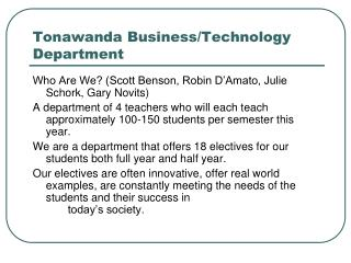 Tonawanda Business/Technology Department