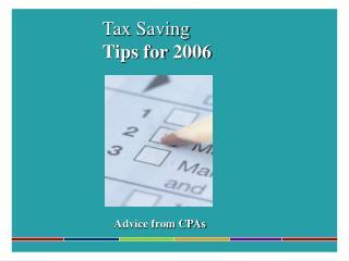 Tax Saving Tips for 2006