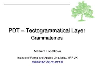 PDT –  Tectogrammatical  Layer Grammatemes