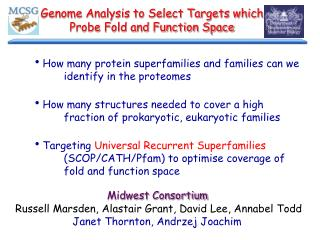 Genome Analysis to Select Targets which Probe Fold and Function Space