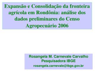 Rosangela M. Carnevale Carvalho Pesquisadora IBGE  rosangelarnevale@ibge.br