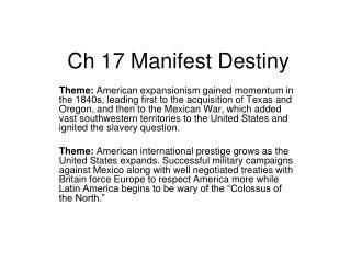Ch 17 Manifest Destiny