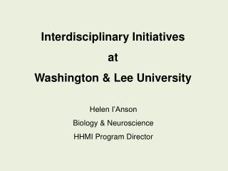 Interdisciplinary Initiatives at Washington  Lee University