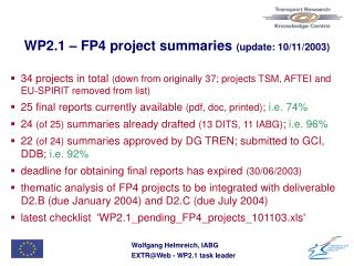 WP2.1 –  FP4 project summaries  (update: 10/11/2003)