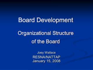Board Development Organizational Structure  of the Board
