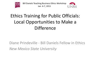 Ethics Training for Public Officials: Local Opportunities to Make a Difference