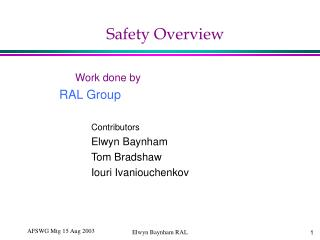 Safety Overview