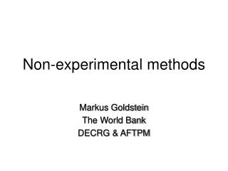Non-experimental methods
