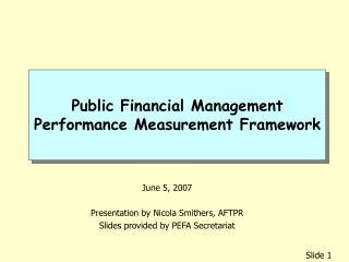 Public Financial Management Performance Measurement Framework