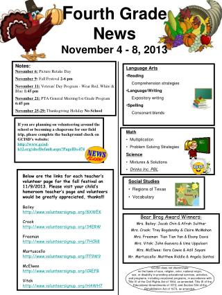 F ourth  Grade  News November 4 - 8, 2013