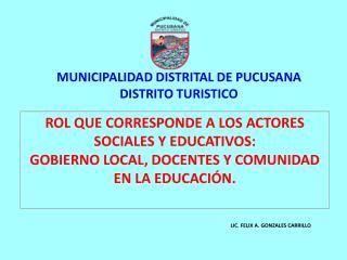 MUNICIPALIDAD DISTRITAL DE PUCUSANA DISTRITO TURISTICO