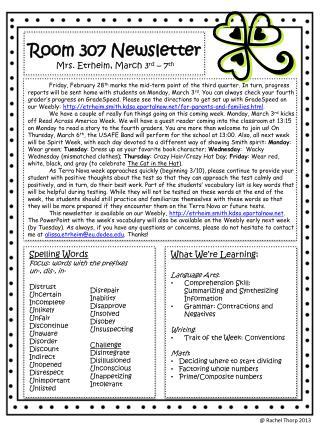 Room 307 Newsletter Mrs. Etrheim, March 3 rd  – 7 th