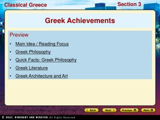 Preview Main Idea / Reading Focus  Greek Philosophy Quick Facts: Greek Philosophy Greek Literature
