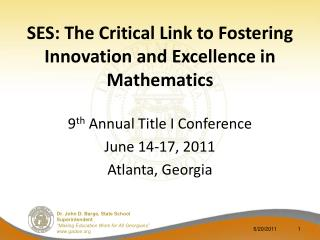 SES: The Critical Link to Fostering Innovation and Excellence in Mathematics
