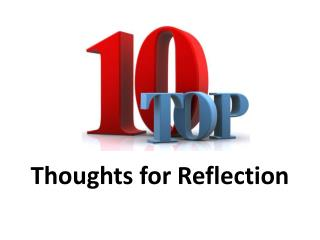 Thoughts for Reflection