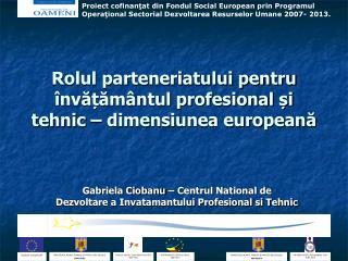Rolul parteneriatului pentru învățământul profesional și tehnic  –  dimensiunea europeană