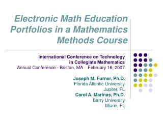 Electronic Math Education Portfolios in a Mathematics Methods Course